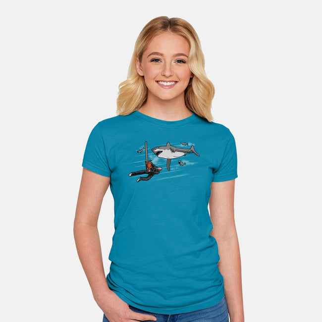 Epic Shark Battle-womens fitted tee-jasesa