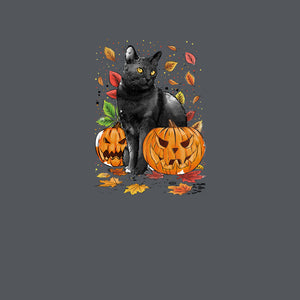 Cat Leaves and Pumpkins