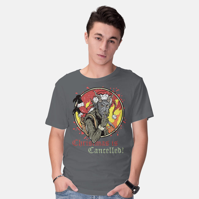 Christmas is Cancelled-mens basic tee-Green Devil