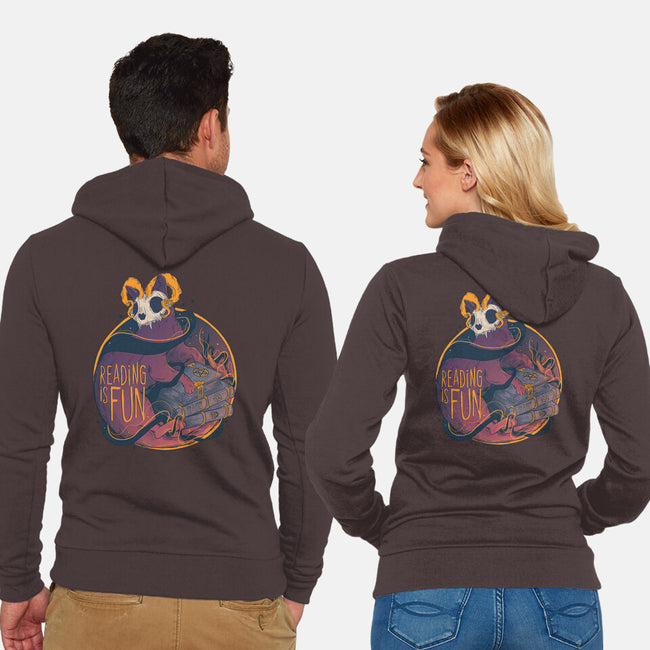 Reading For Fun-unisex zip-up sweatshirt-Jess.Adams.Creates