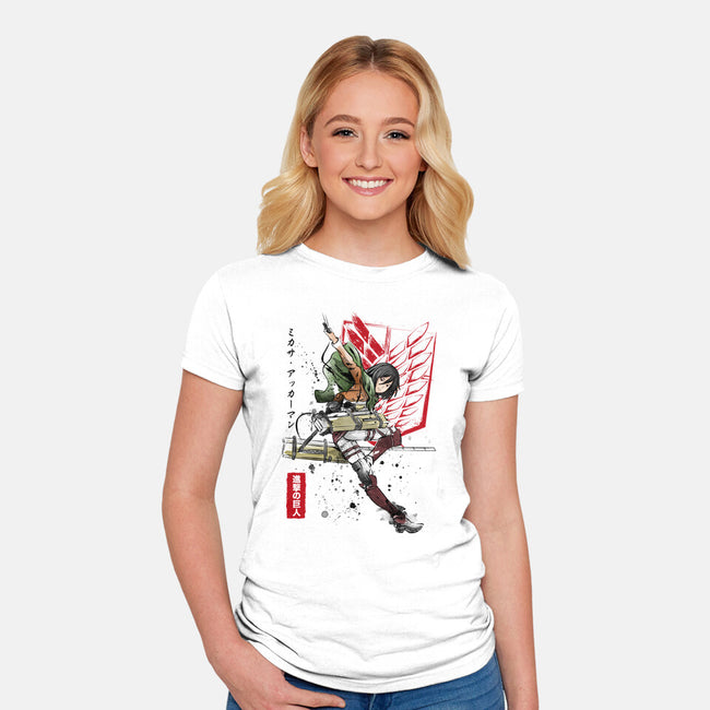 Soldier Mikasa-womens fitted tee-DrMonekers