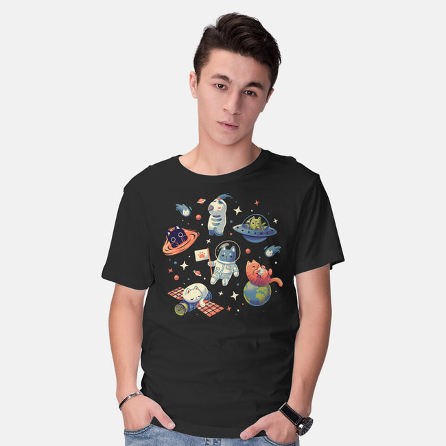 Cats in Space-mens basic tee-Geekydog