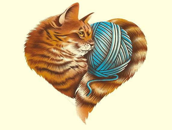 Heart Knitting Kitten