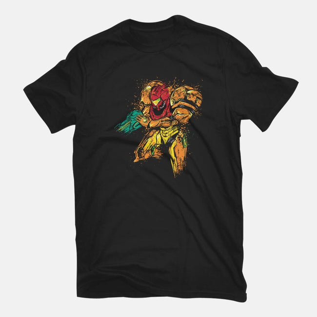 Splattered Bounty Hunter-womens fitted tee-DrMonekers