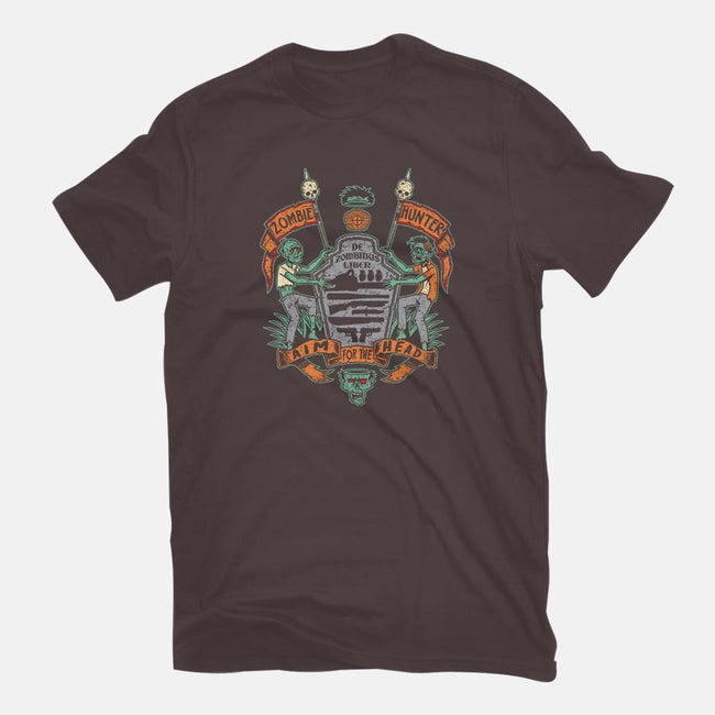Zombie Hunter Coat of Arms-mens basic tee-Bamboota