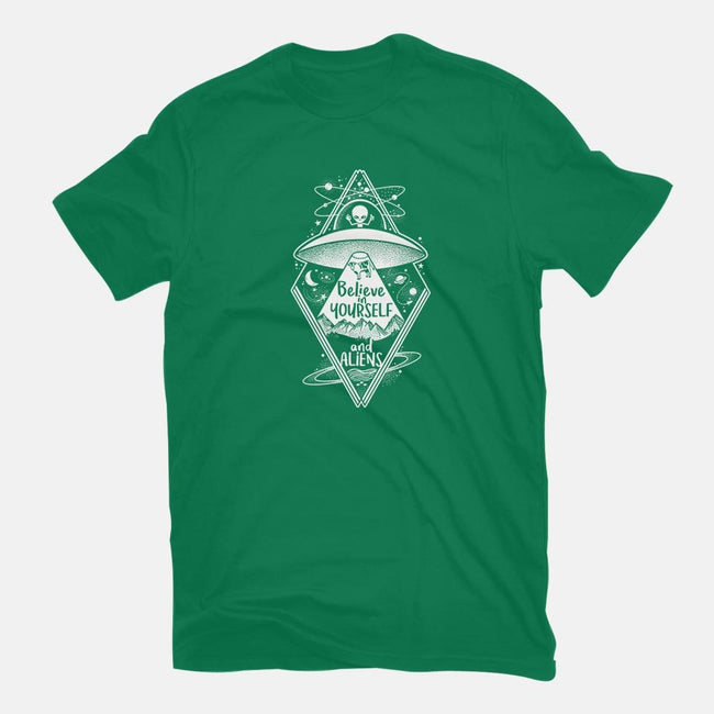 Believe in Yourself and Aliens-mens basic tee-NemiMakeit