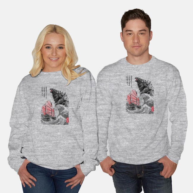 King Kaiju Sumi-e-unisex crew neck sweatshirt-DrMonekers