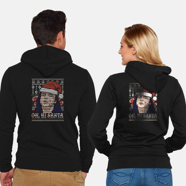 Oh Hi Santa-unisex zip-up sweatshirt-CoD Designs