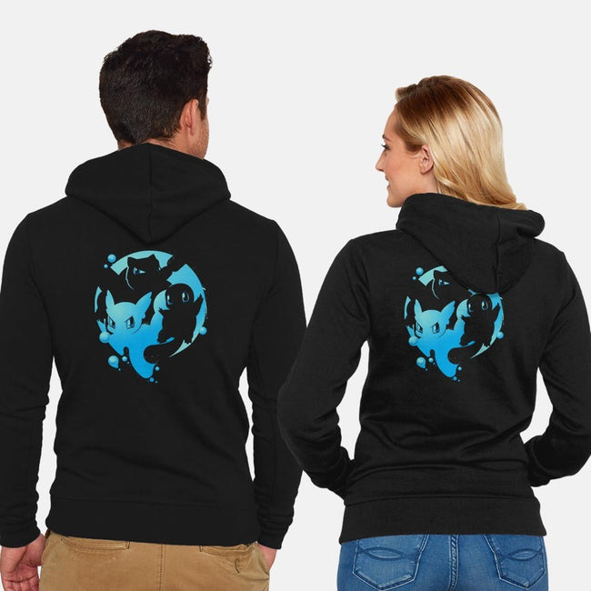 Water Trio-unisex zip-up sweatshirt-TEEvsTEE