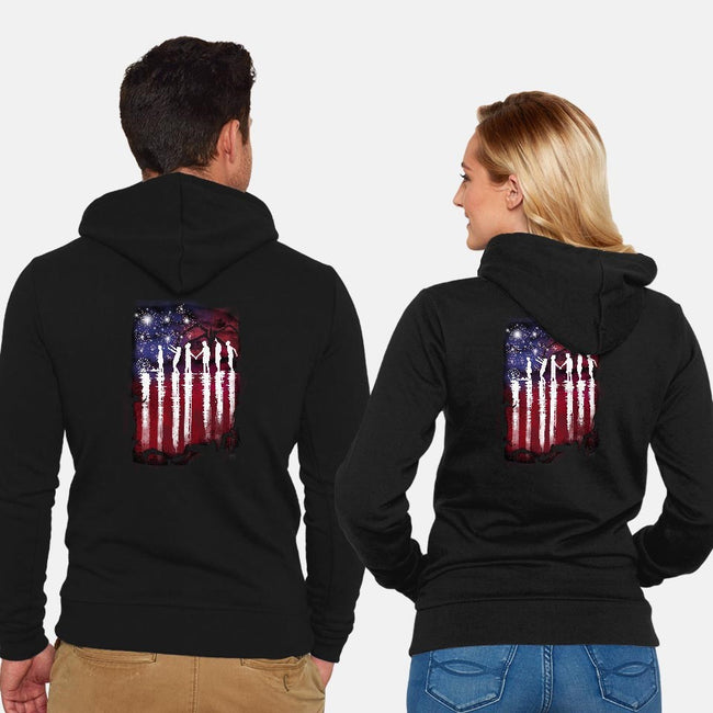 Hawkins 4th of July-unisex zip-up sweatshirt-dandingeroz