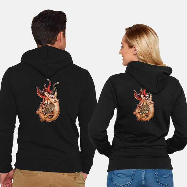 Old School Mermaid Trouble-unisex zip-up sweatshirt-Zeeee