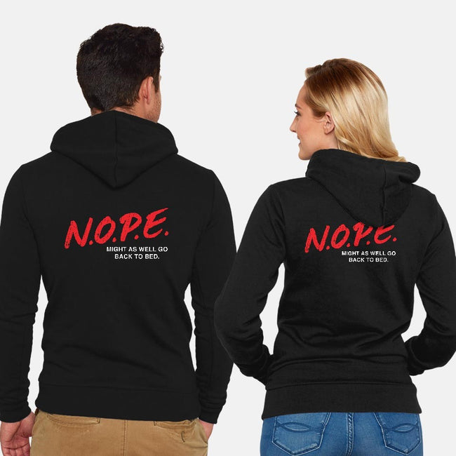N.O.P.E.-unisex zip-up sweatshirt-lunchboxbrain