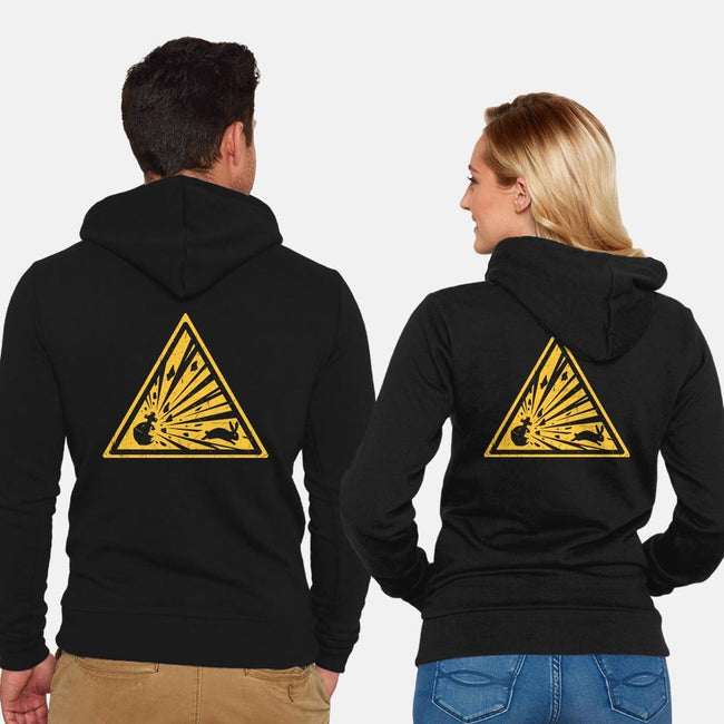 Danger on Three-unisex zip-up sweatshirt-Crumblin' Cookie