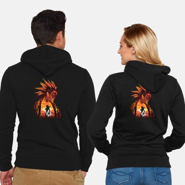 Dancing Flames-unisex zip-up sweatshirt-dandingeroz