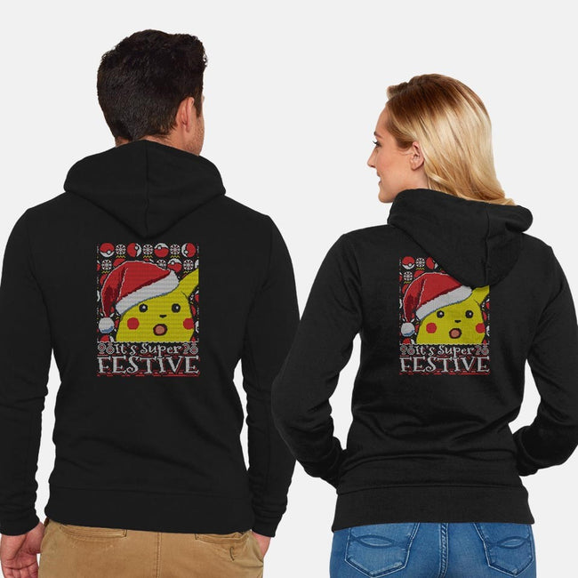 It's Super Festive-unisex zip-up sweatshirt-CoD Designs