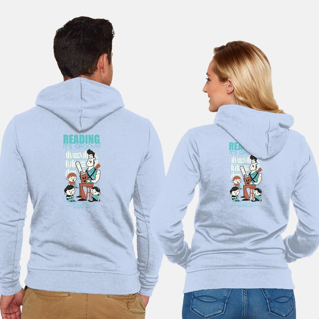 Reading is Groovy-unisex zip-up sweatshirt-Dave Perillo