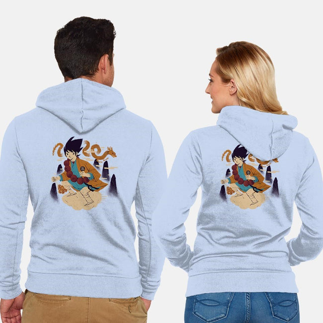 Woodblock Kakarot-unisex zip-up sweatshirt-louisros