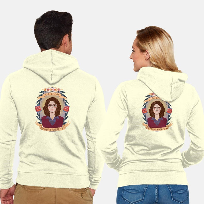Our Lady of Having It All-unisex zip-up sweatshirt-heymonster