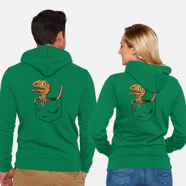 Pocket Velociraptor-unisex zip-up sweatshirt-Tabners