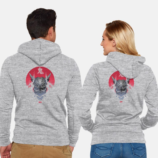 Oni Demon-unisex zip-up sweatshirt-Dracortis