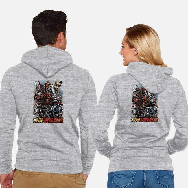 TOKUSATSU SPECIAL FORCES-unisex zip-up sweatshirt-dinshoran