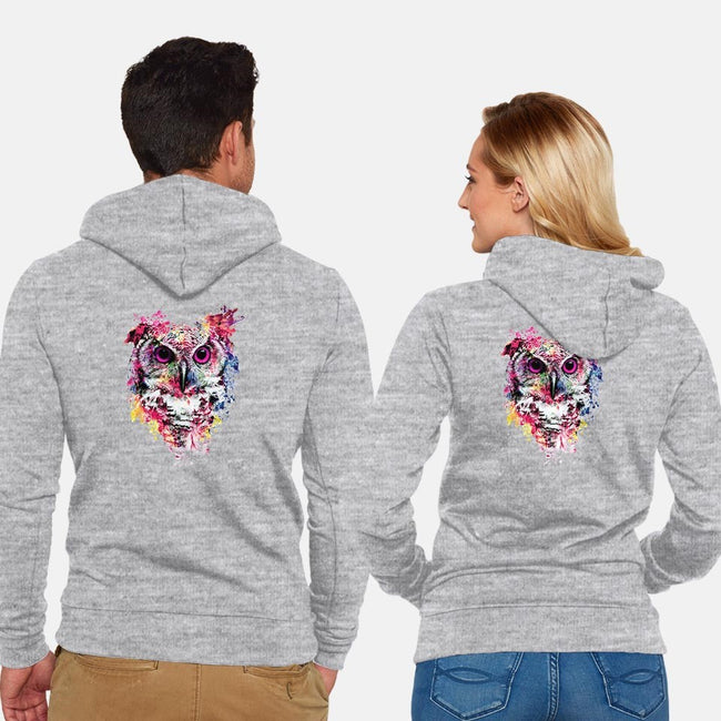 Watercolor Owl-unisex zip-up sweatshirt-RizaPeker