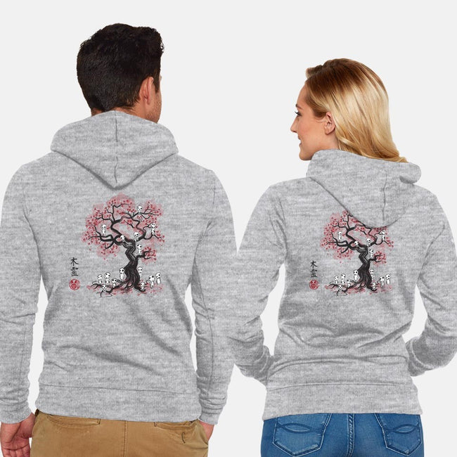 Forest Spirits Sumi-e-unisex zip-up sweatshirt-DrMonekers