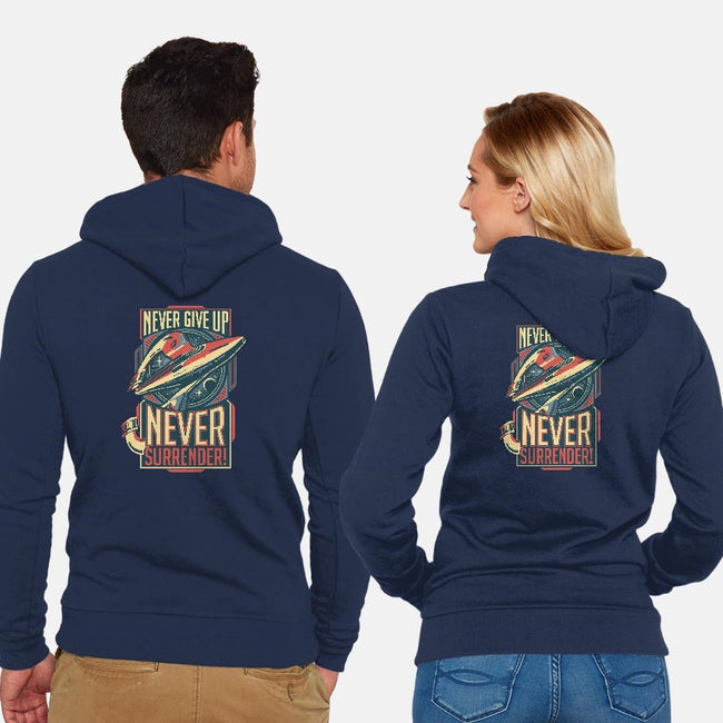Never Surrender!-unisex zip-up sweatshirt-DeepFriedArt