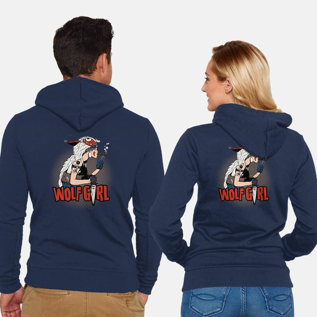 Wolf Girl-unisex zip-up sweatshirt-beware1984