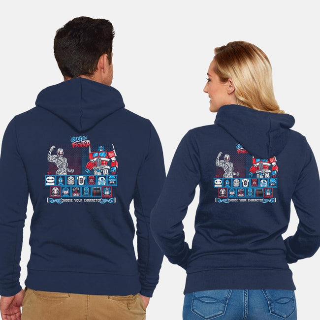 Robo Fighter-unisex zip-up sweatshirt-LavaLampTee