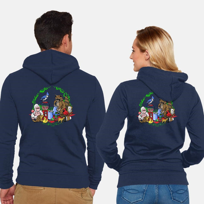 Regular Double Date-unisex zip-up sweatshirt-PrimePremne