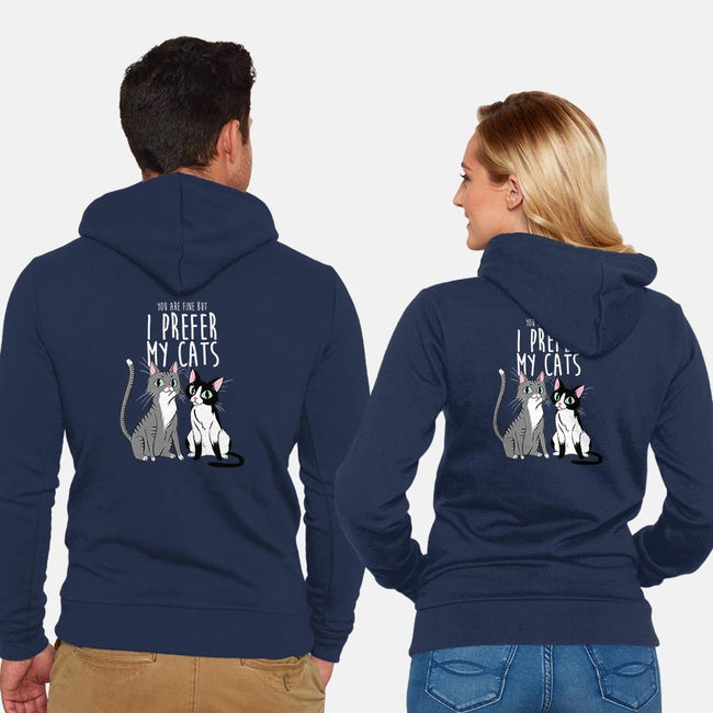 I Prefer My Cats-unisex zip-up sweatshirt-ursulalopez