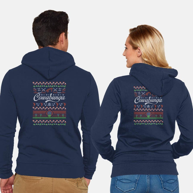 Cowabunga Christmas-unisex zip-up sweatshirt-DJKopet