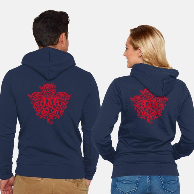 Three Headed Celtic Dragon-unisex zip-up sweatshirt-Narwen
