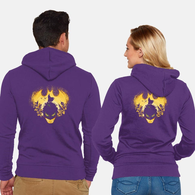 Dark Knightmare-unisex zip-up sweatshirt-Harantula