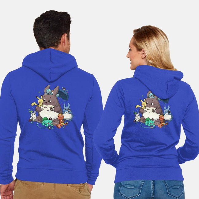 Totomon-unisex zip-up sweatshirt-DoOomcat