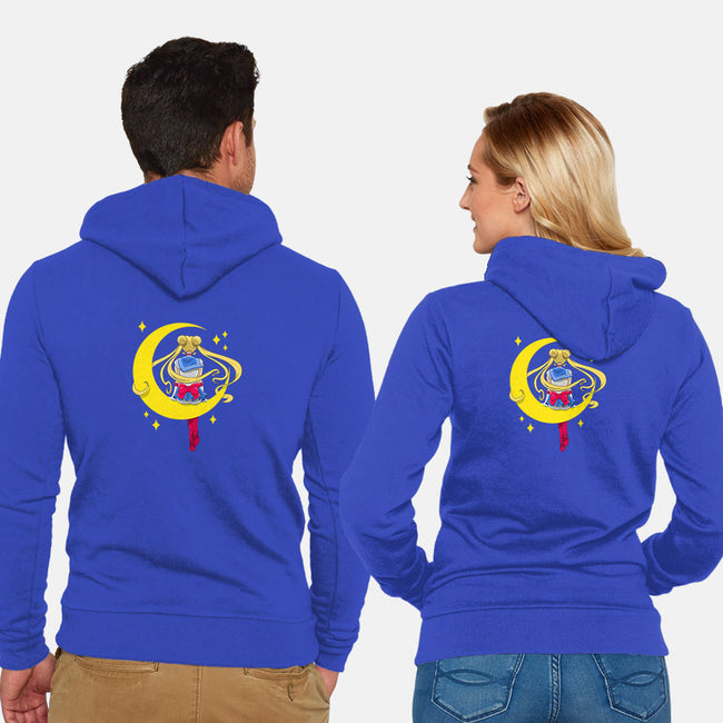Sitter Moon-unisex zip-up sweatshirt-ClayGrahamArt