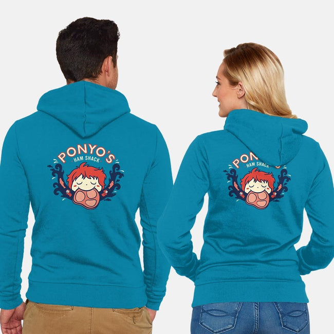 Ponyo's Ham Shack-unisex zip-up sweatshirt-aflagg