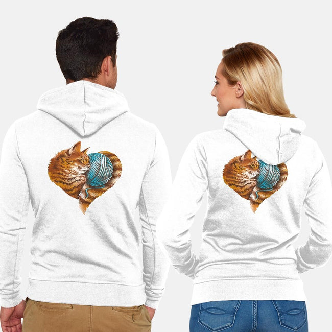 Heart Knitting Kitten-unisex zip-up sweatshirt-dandingeroz