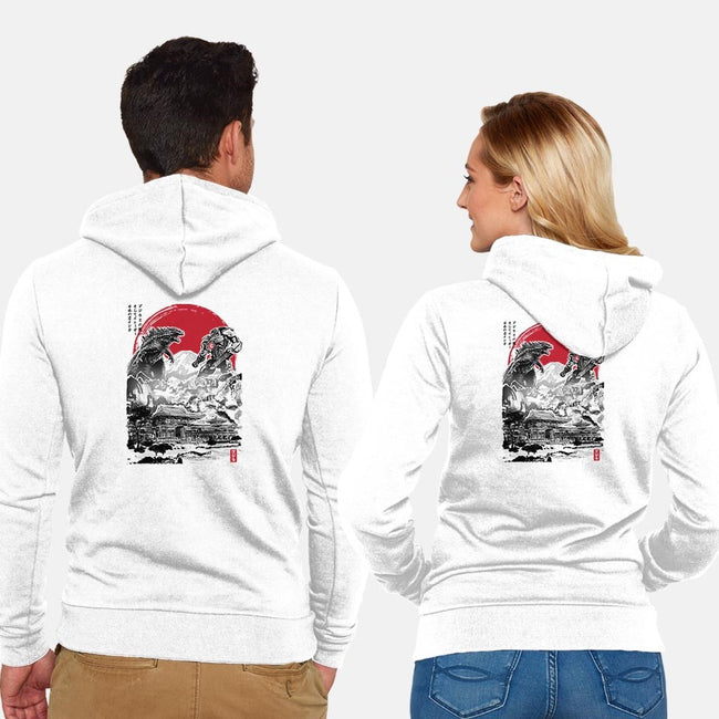 Battle of the Ages-unisex zip-up sweatshirt-DrMonekers