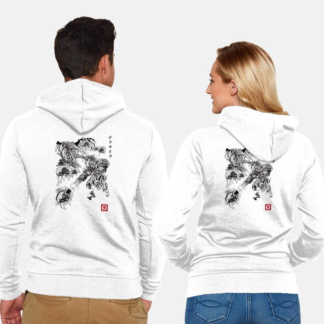 Attack of the Space Pirates Sumi-e-unisex zip-up sweatshirt-DrMonekers