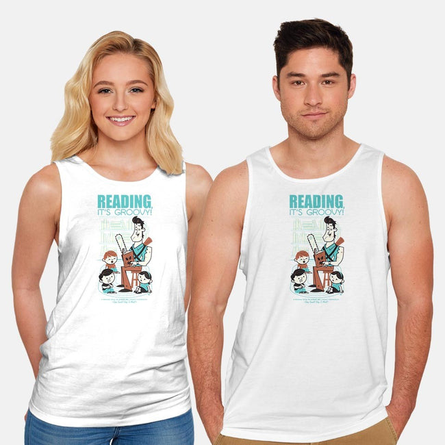 Reading is Groovy-unisex basic tank-Dave Perillo
