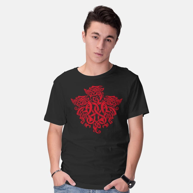 Three Headed Celtic Dragon-mens basic tee-Narwen