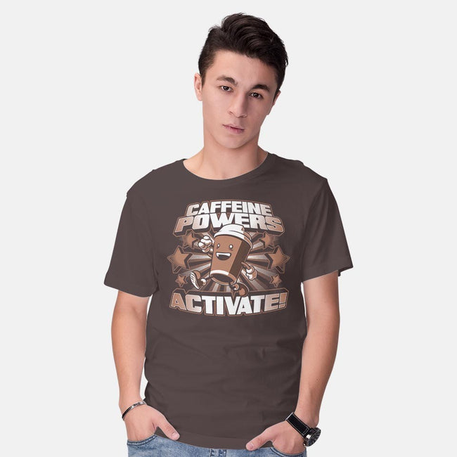 Caffeine Powers, Activate!-mens basic tee-Obvian