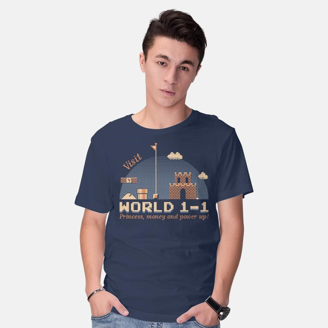 WORLD 1-1-mens basic tee-mauru