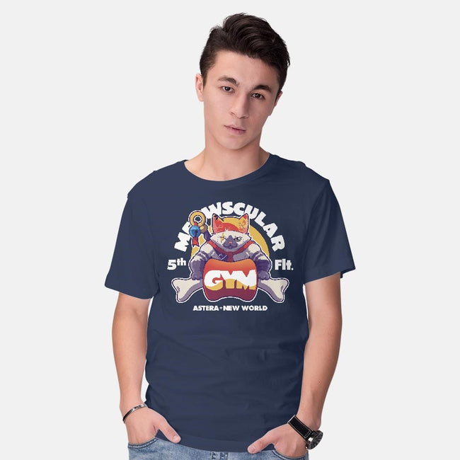 Meowscular Gym-mens basic tee-KindaCreative