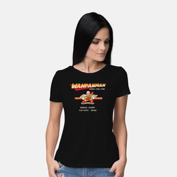 Wanpanman-womens basic tee-The Grilled Bacon