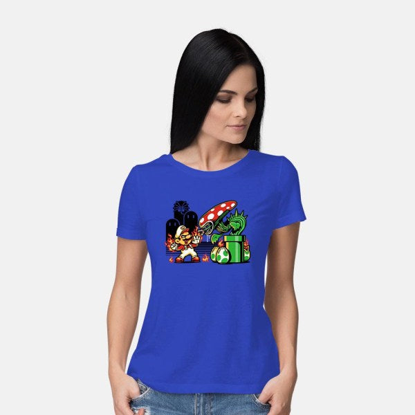 Game Over, Man, GAME OVER!-womens basic tee-harebrained