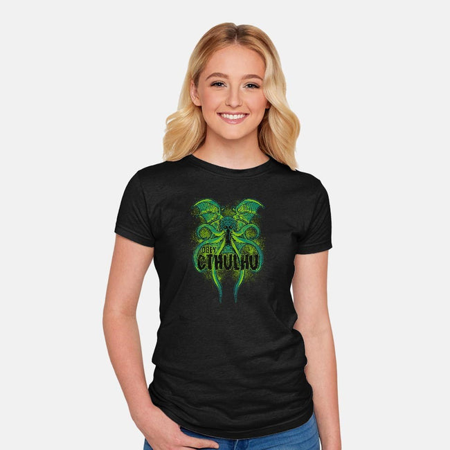 Obey The Cthulhu-womens fitted tee-fanfreak1