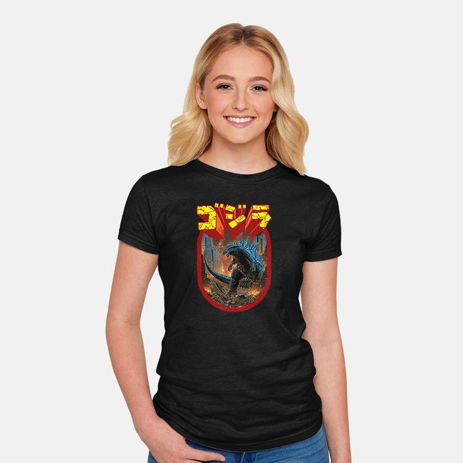 King of the Monsters-womens fitted tee-Shamus Beyale